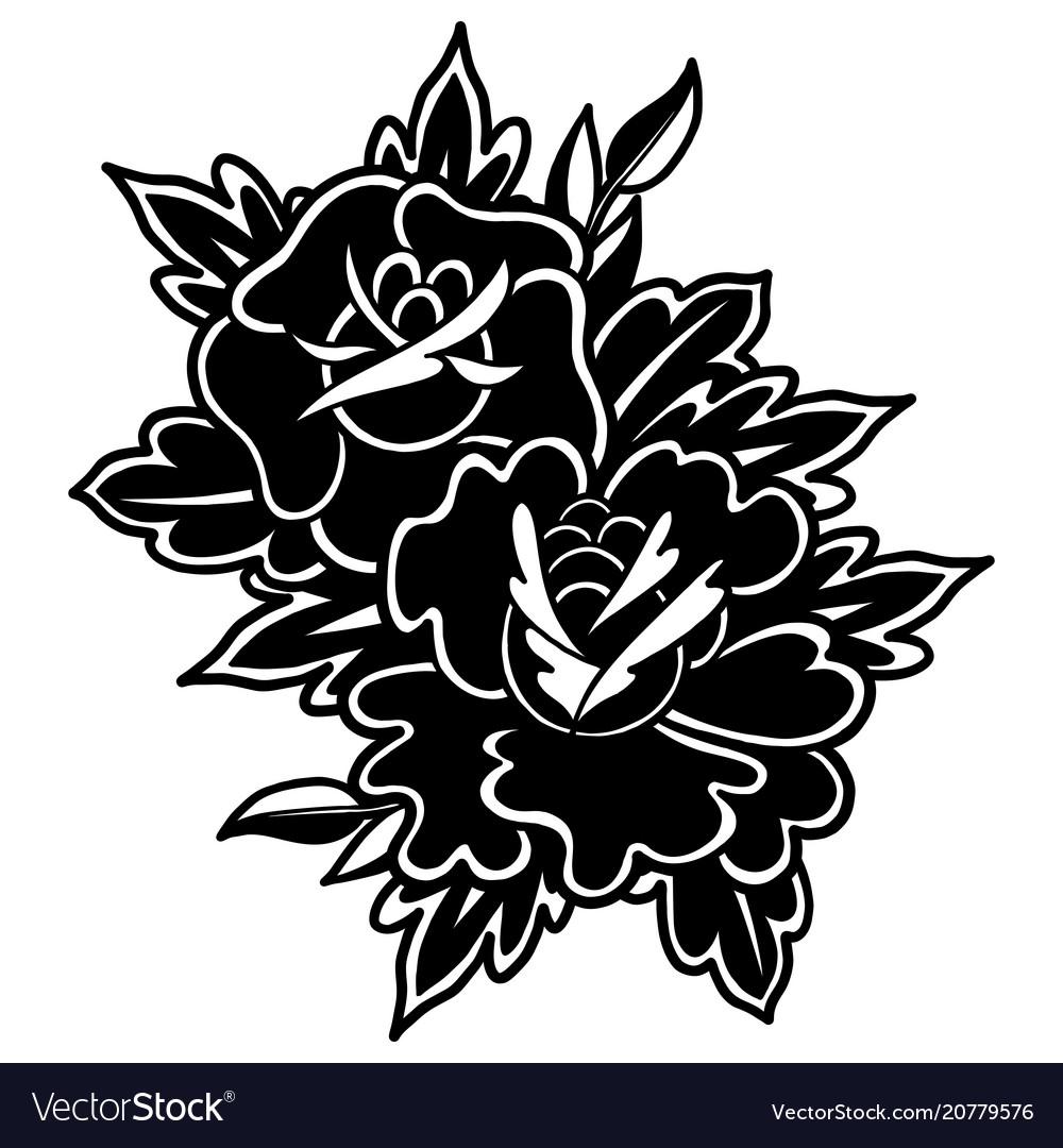 Graphic floral vignette