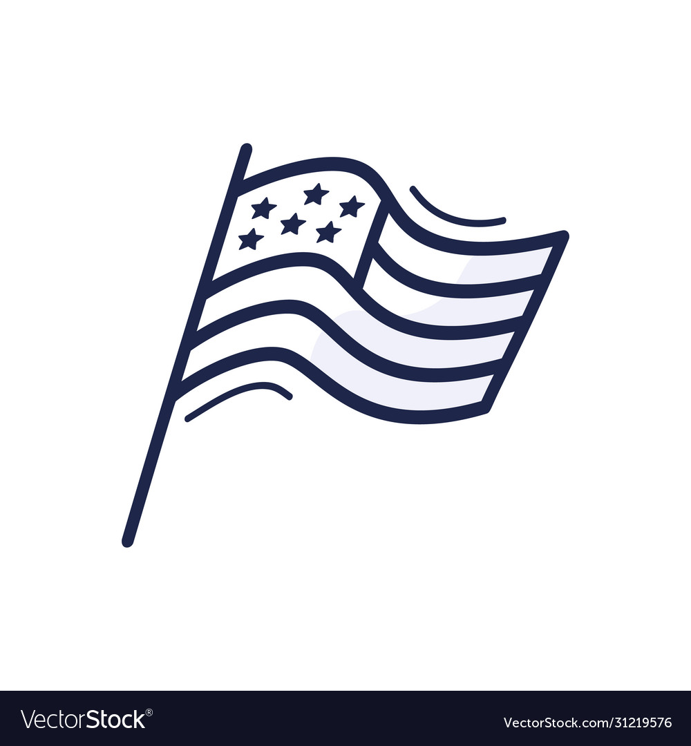 Hand drawn doodle style usa flag with stars