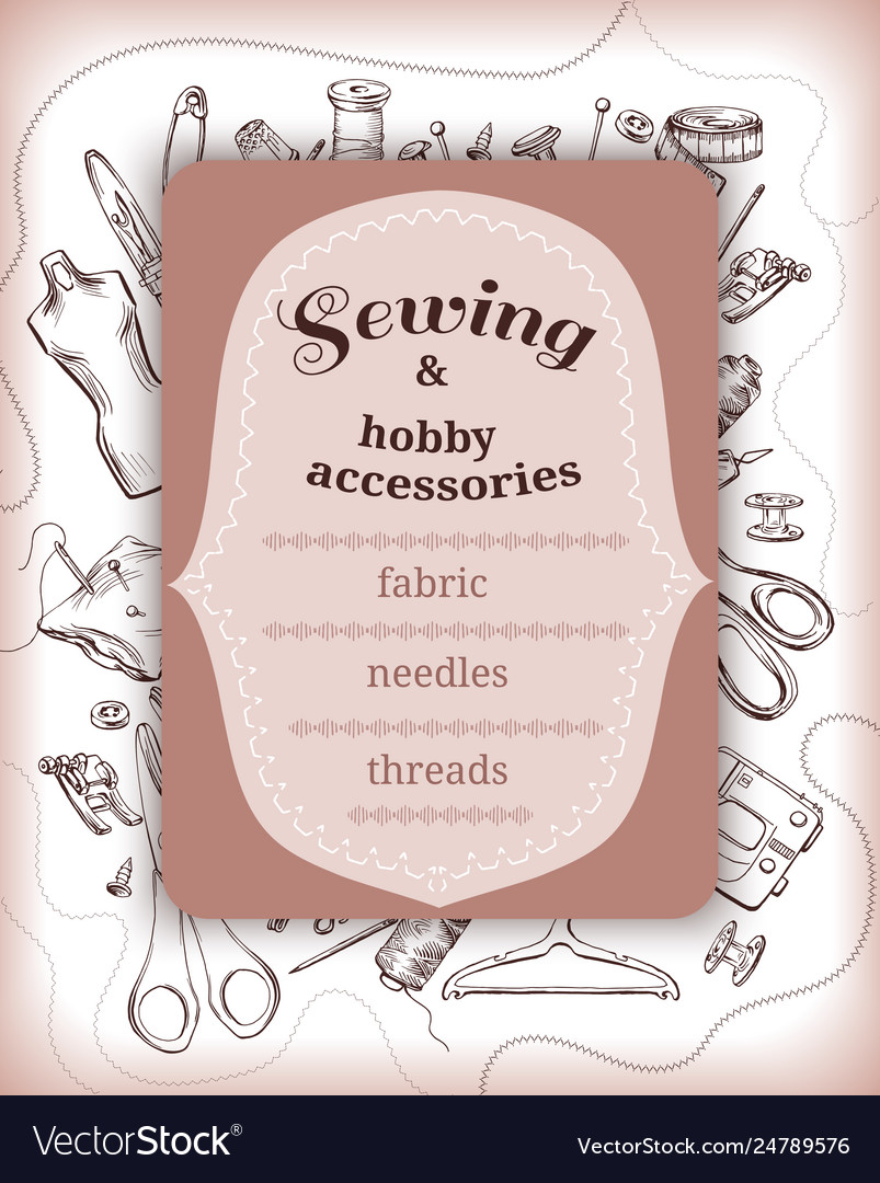 Hand drawn tailoring elements template