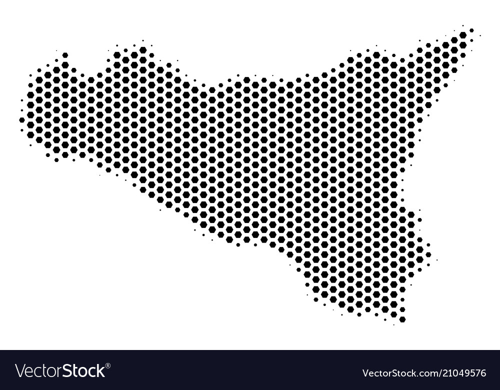 Honeycomb sicilia map vector image