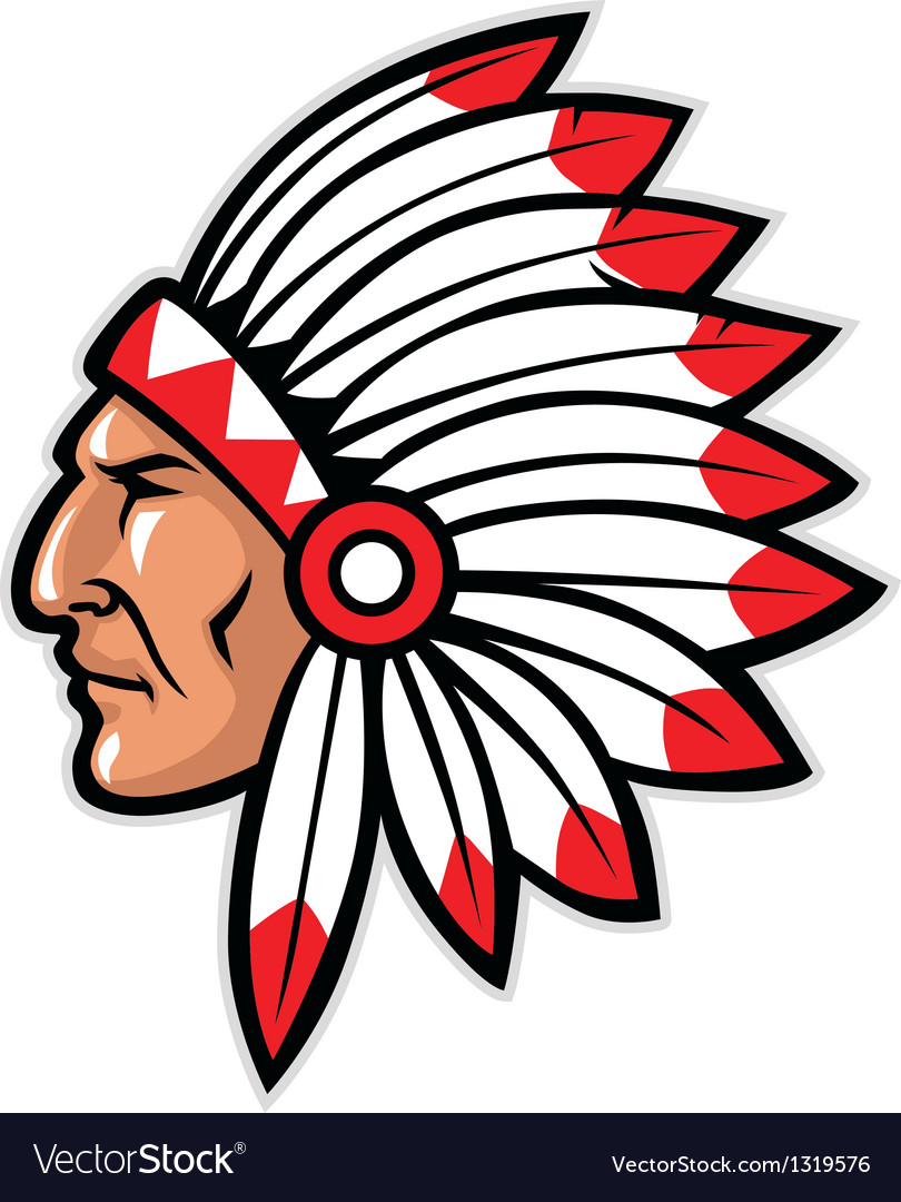 indian head mascot royalty free vector image vectorstock rh vectorstock com indian head logo clip art indian head clipart
