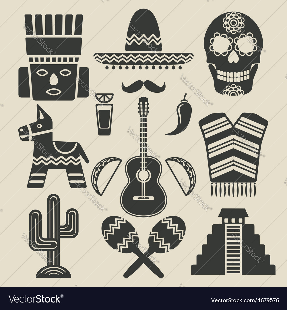 Mexico travel icons set