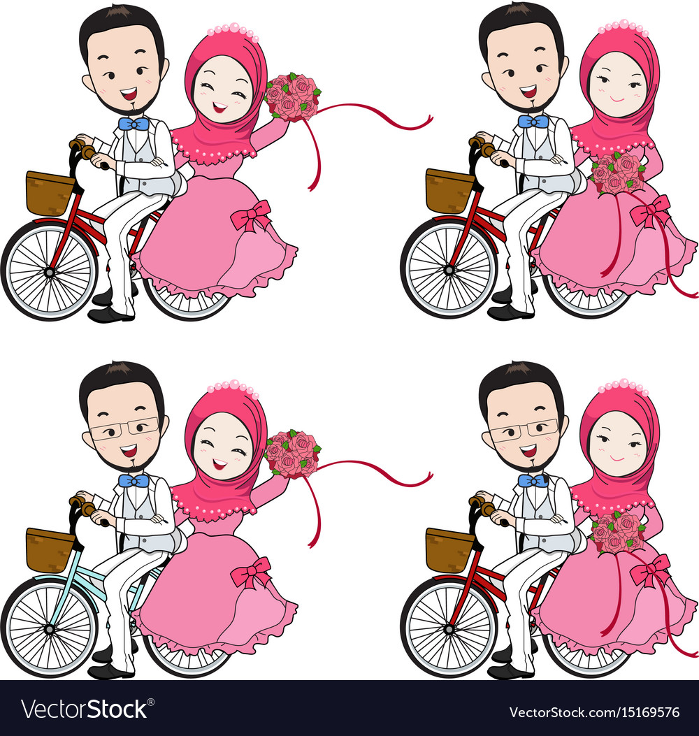 muslim wedding cartoon riding a bicycle royalty free vector rh vectorstock com wedding vector clip art wedding vector free
