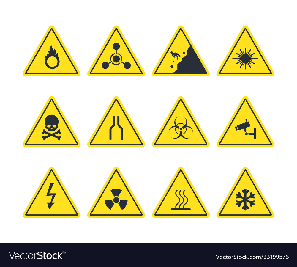 Road signs set yellow warning symbols danger of