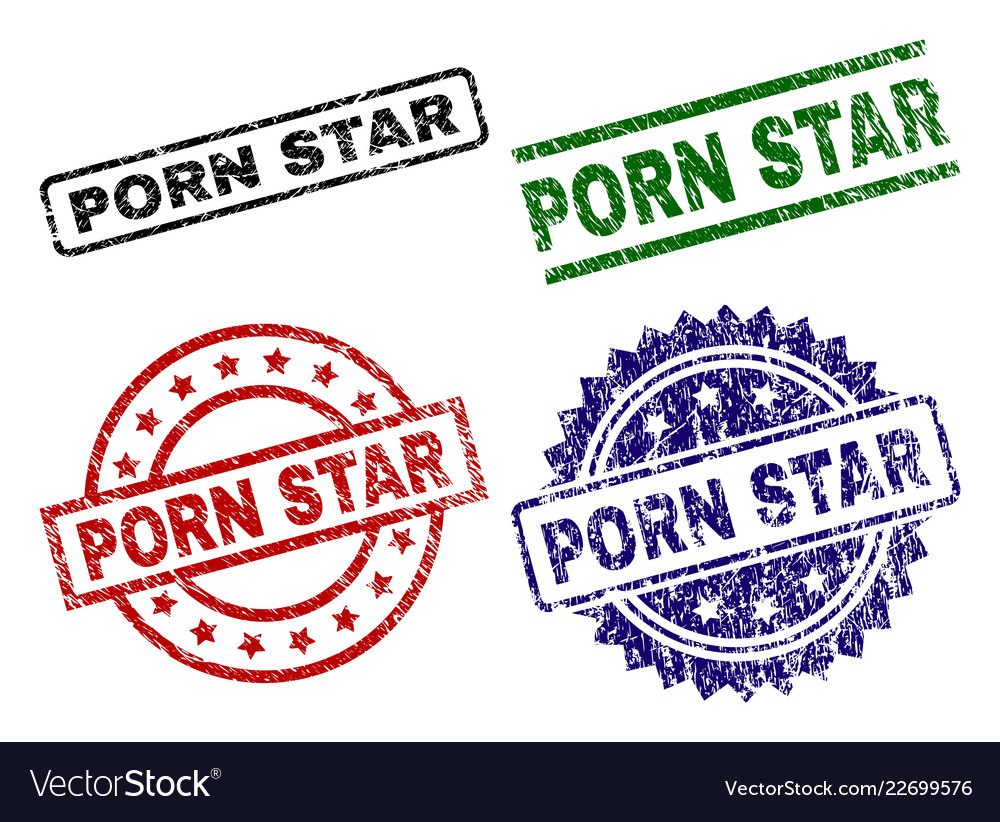 Scratched textured porn star stamp seals vector image