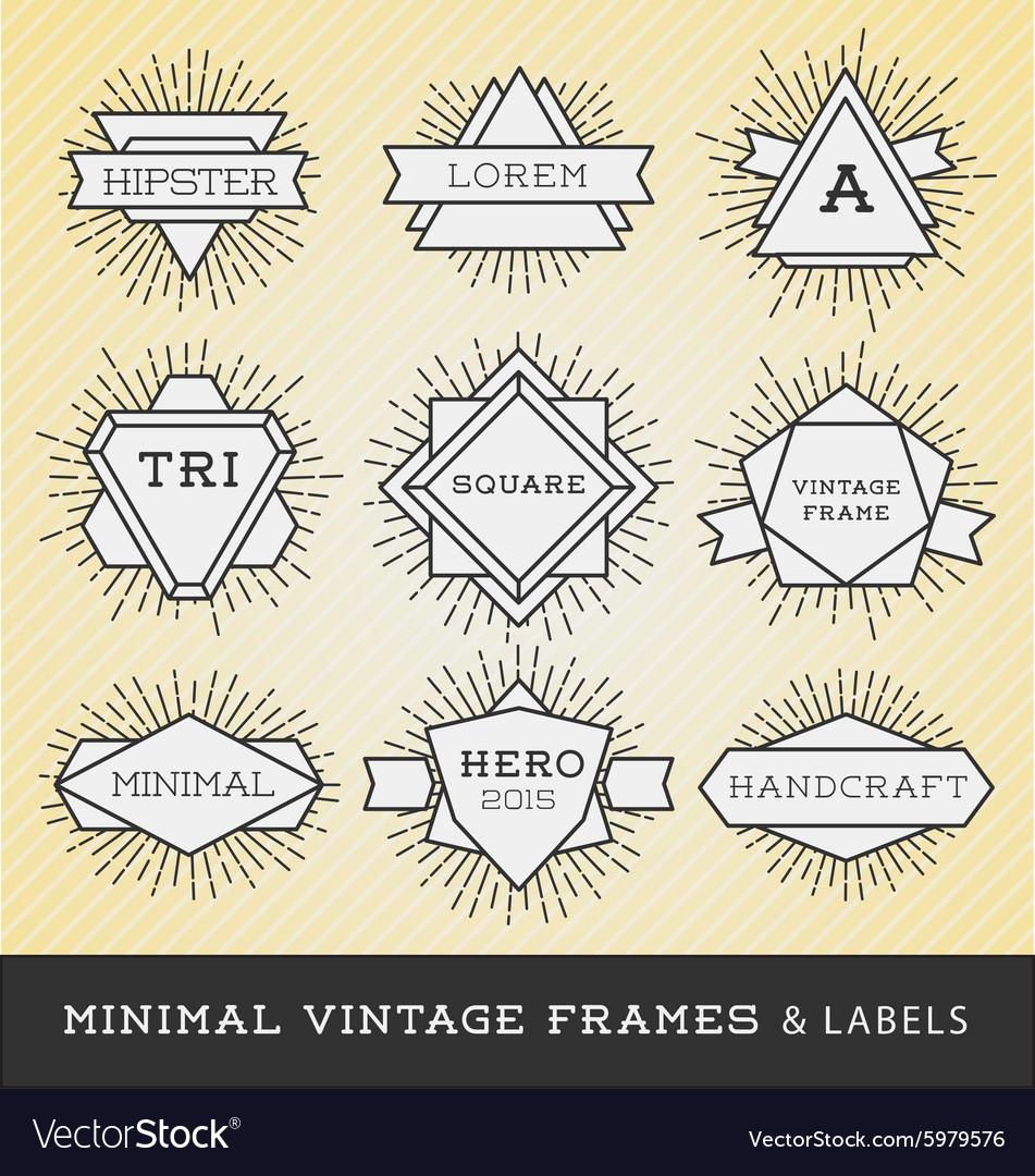 Set of vintage line frames and labels