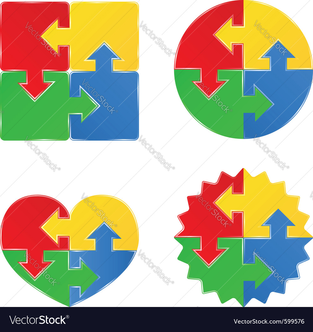 Shapes Of Jigsaw Puzzle Pieces Vector Image