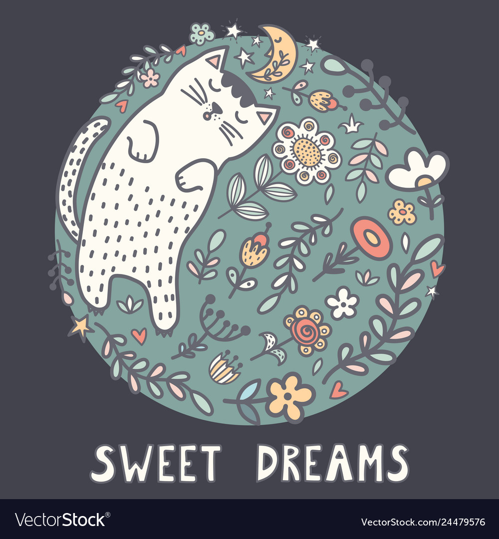 Sweet dreams card with a cute sleeping cat