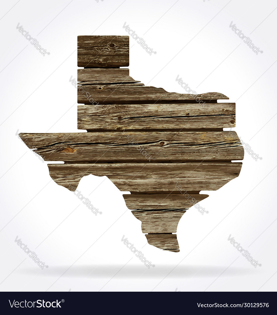 Texas tx state map shape rustic old wood