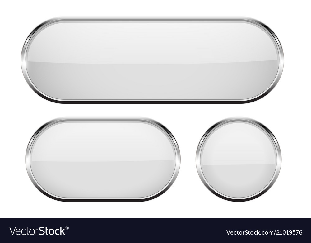 White oval glass buttons with metal frame set of vector image