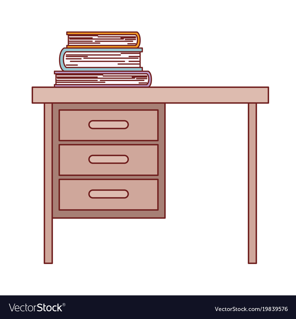 Wooden desk of three drawers and books on top in