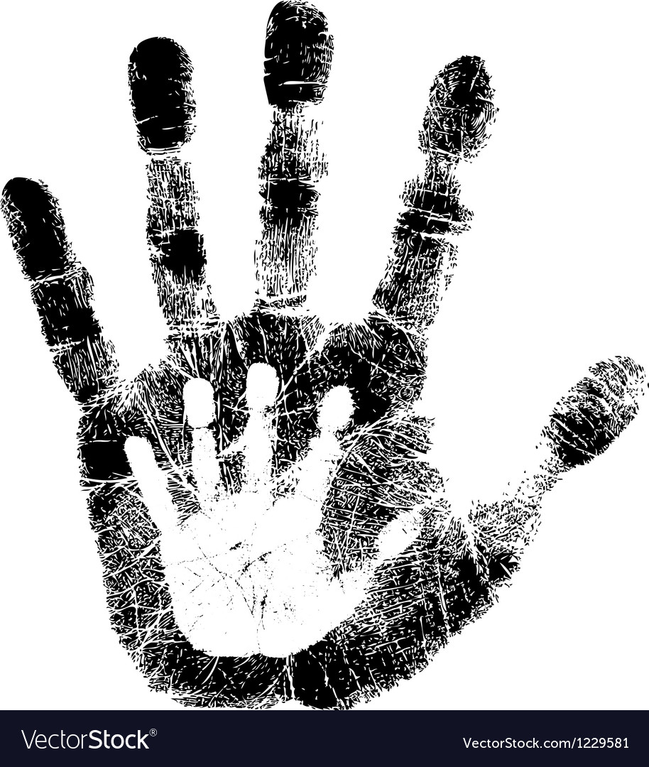 adult and child hand print royalty free vector image rh vectorstock com hand print vector free download hand print vector ai