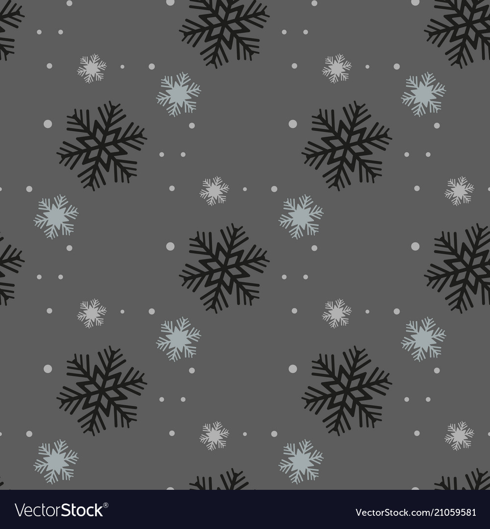 Black seamless christmas pattern with different