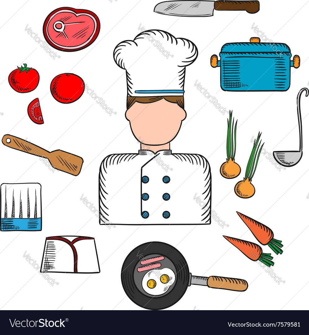 Chef profession with kitchen stuff icons Vector Image