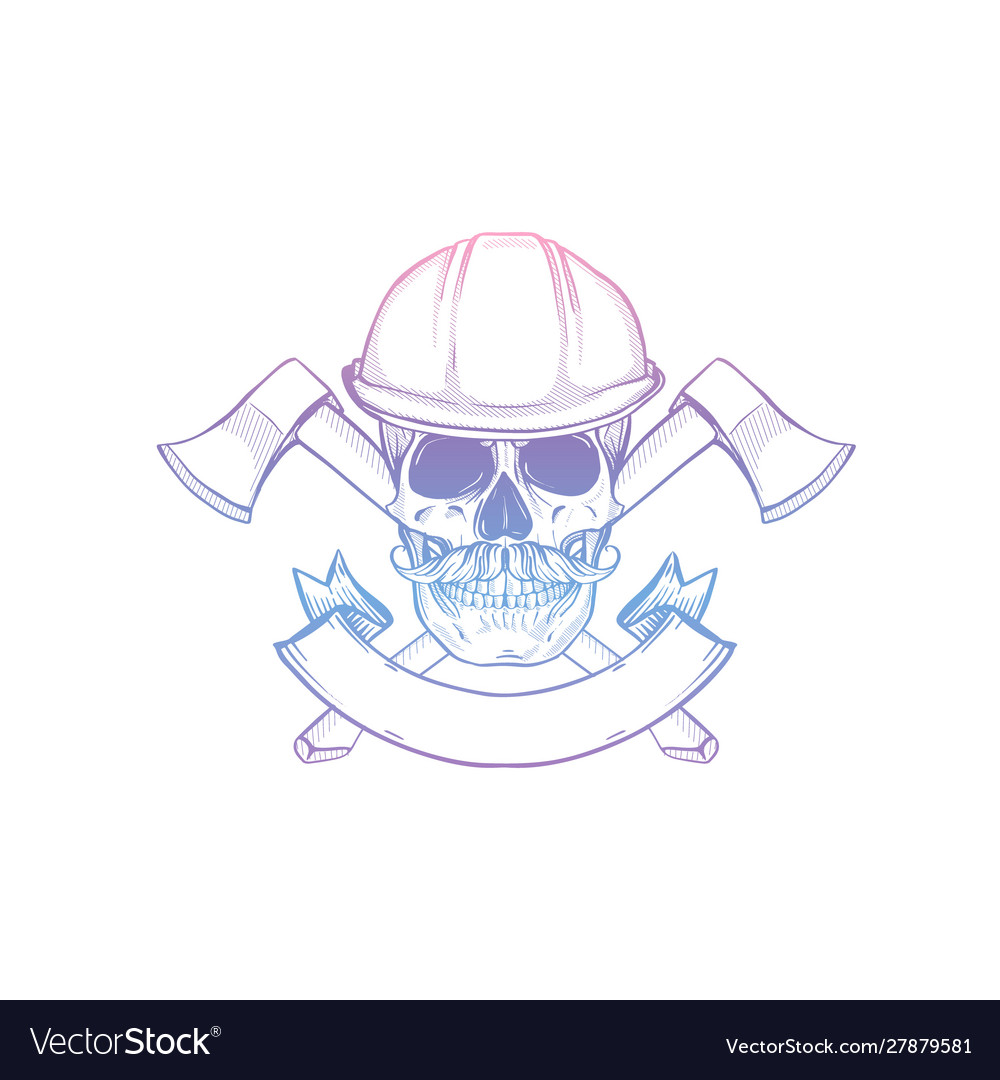 Hand drawn sketch skull with helmet