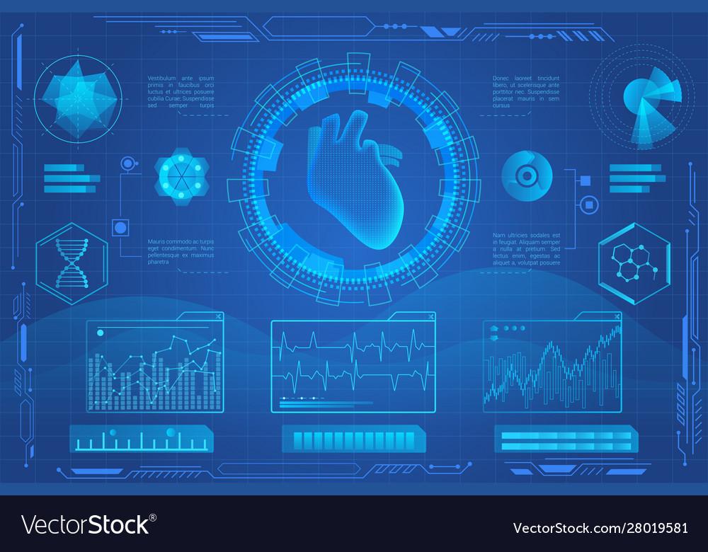 Human heart futuristic medical hologram
