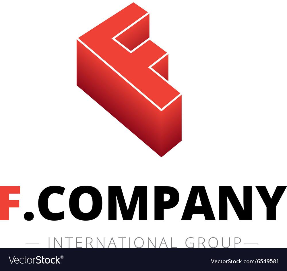 Isometric gradient F letter logo Company