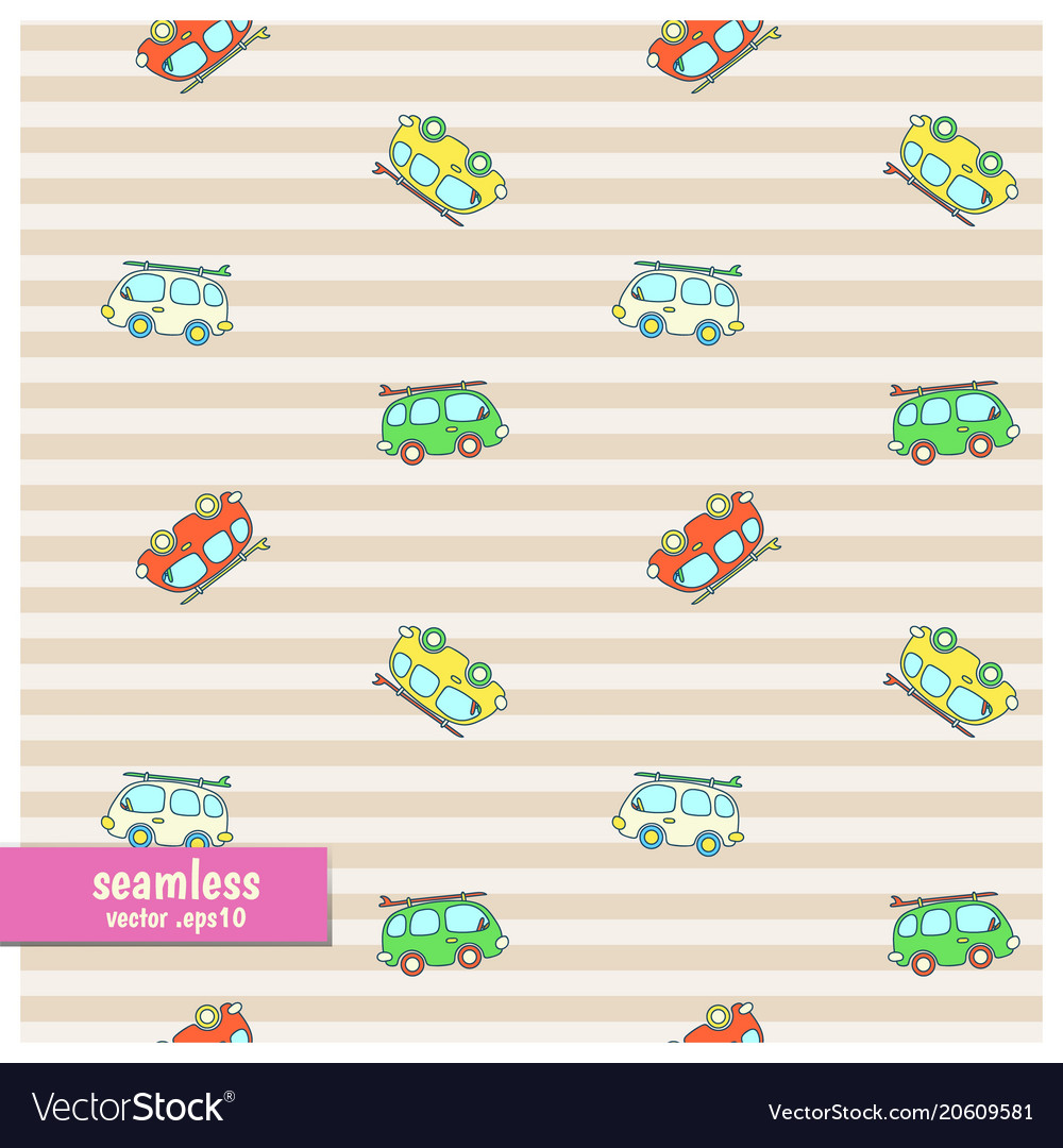 Seamless pattern with cartoon vans
