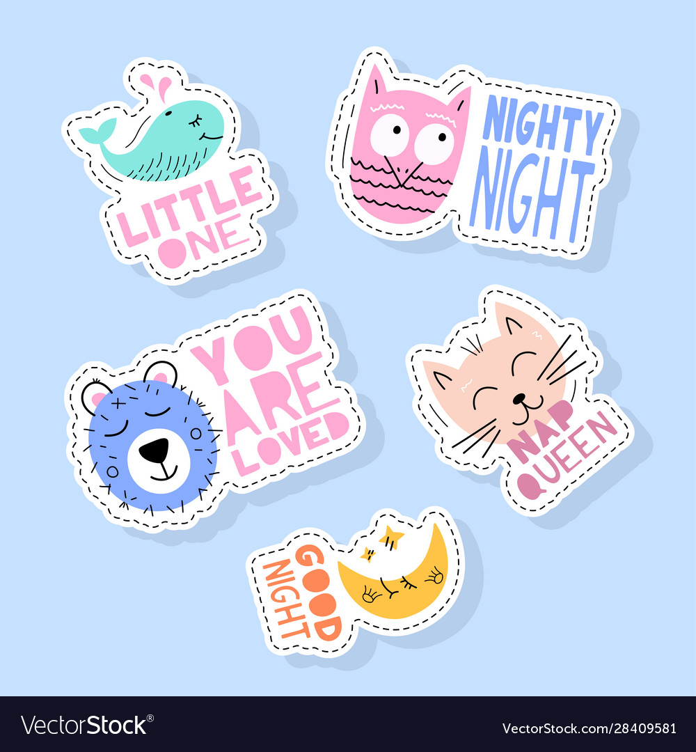 Set cute animals stickers pins patches and
