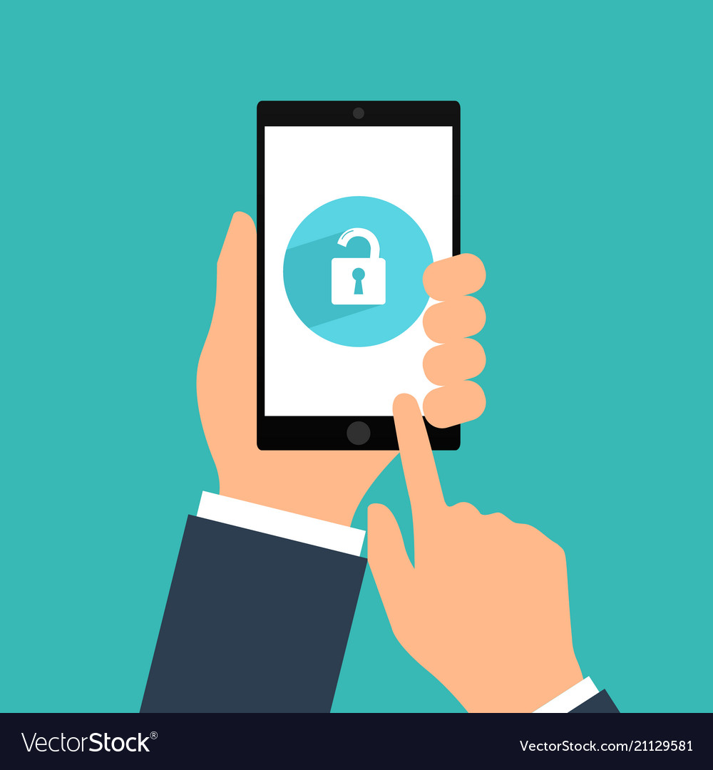 Smartphone lock screen hand hold smartphone