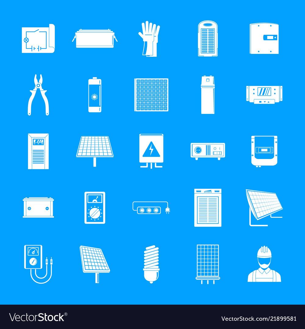 Solar energy equipment icons set simple style