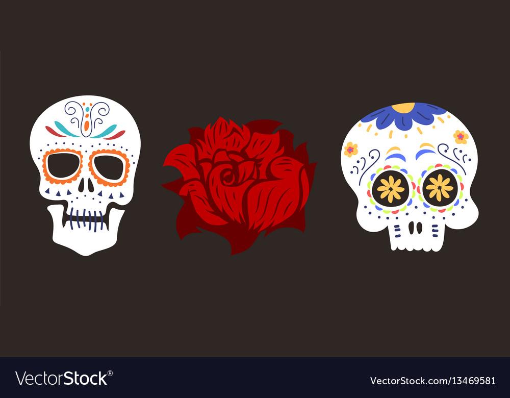 Style skull face dia de los muertos symbol