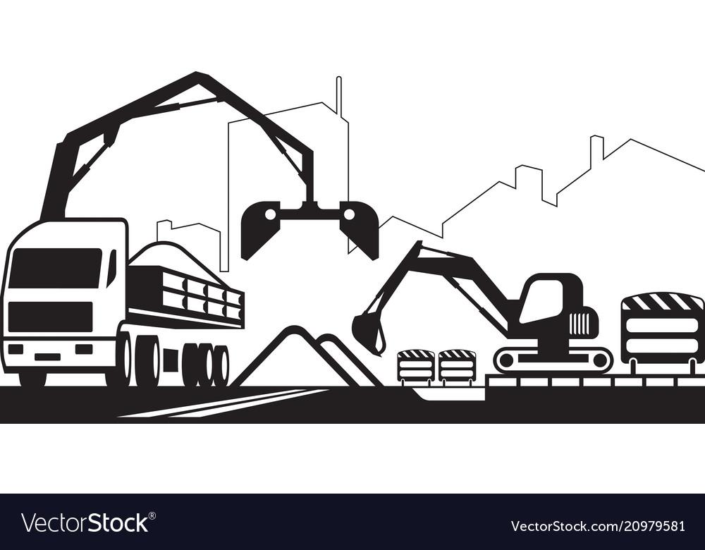 Truck crane and excavator repair a street