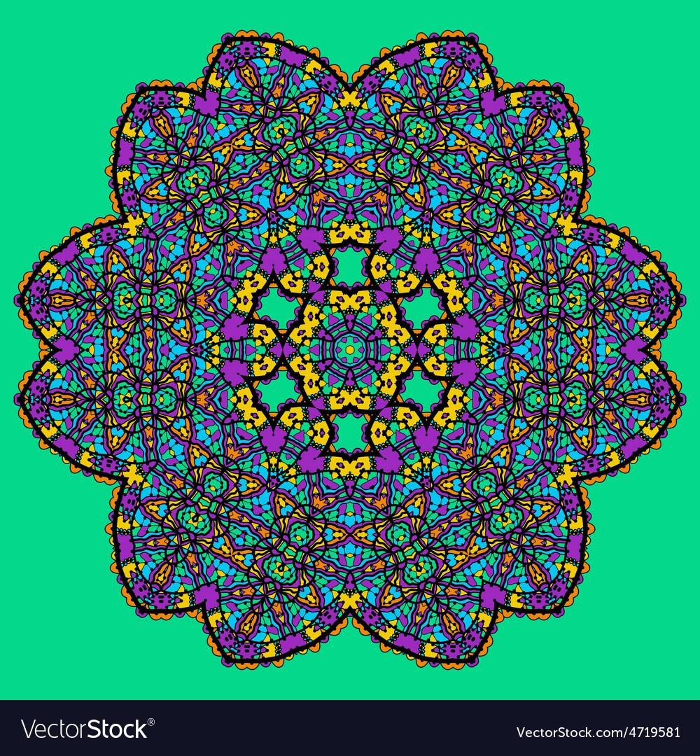 Unusual mandala art - chakra symbol ocer green vector image
