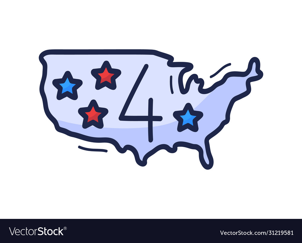 Us map icon with number july 4 is drawn by