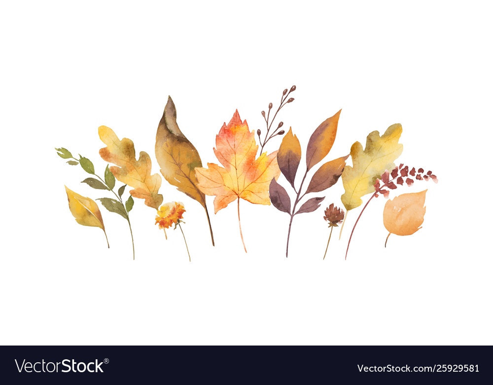 Watercolor card with autumn leaves and