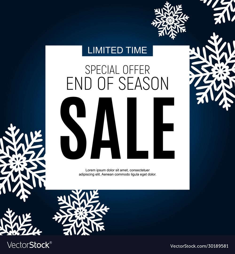 Winter end season sale poster template