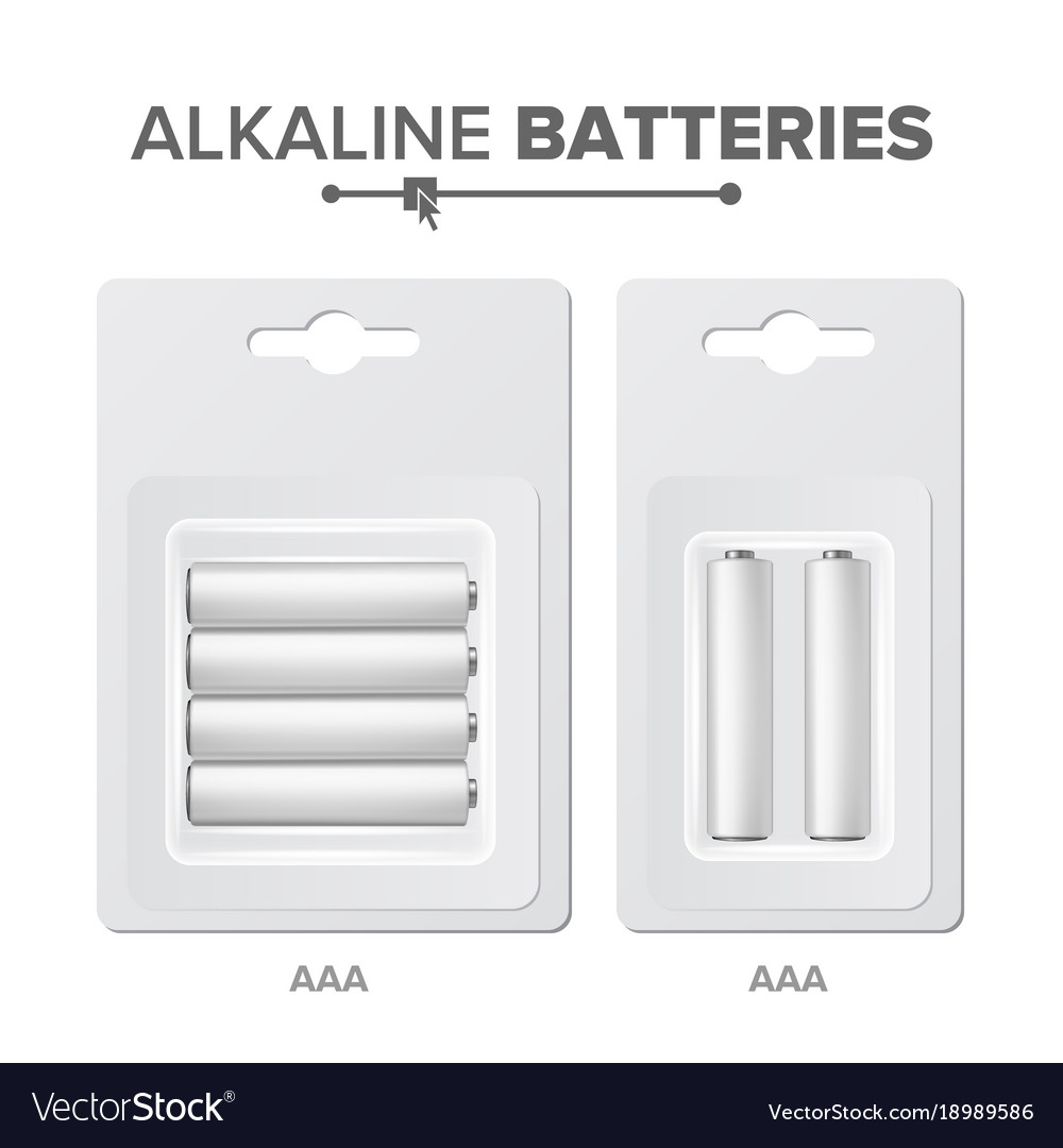 Aaa batteries packed alkaline battery in vector image