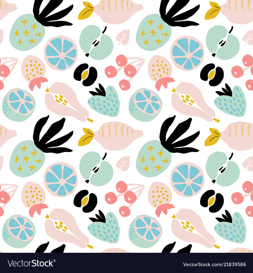 Abstract seamless pattern with fruits and berries