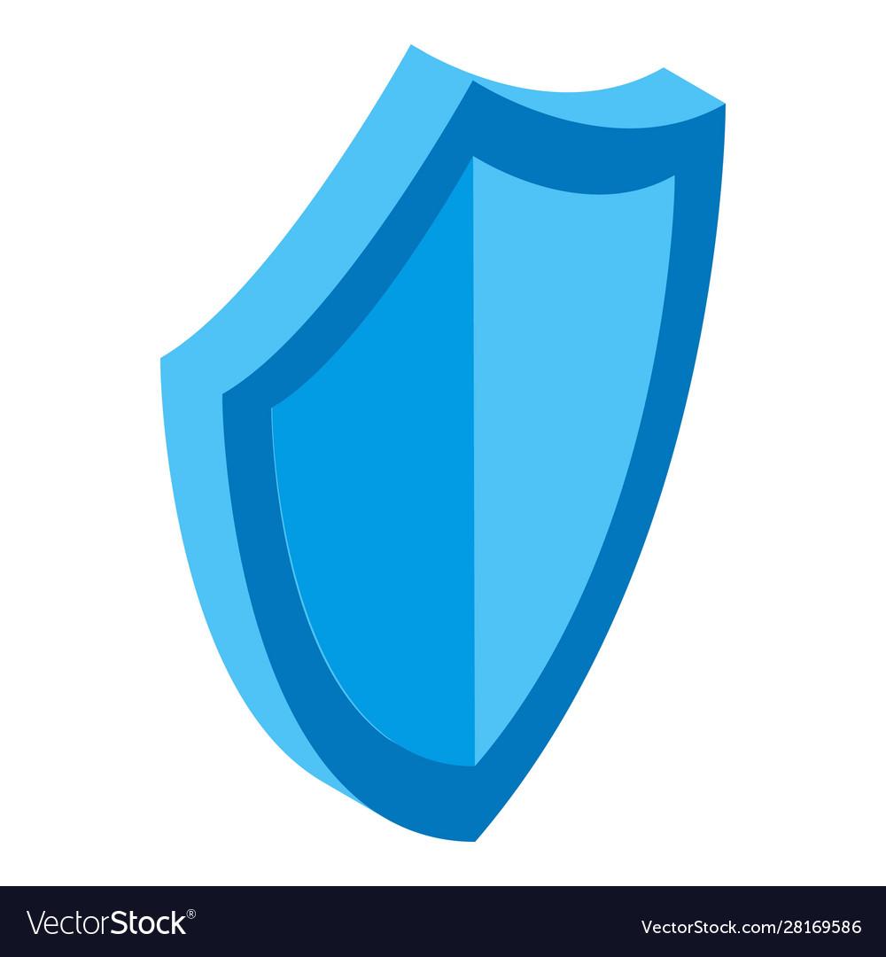 Blue shield icon isometric style
