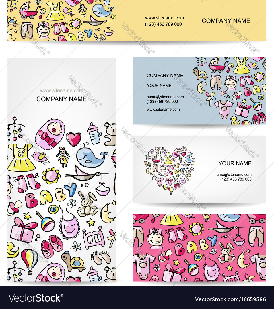 Business cards design baby toys Royalty Free Vector Image