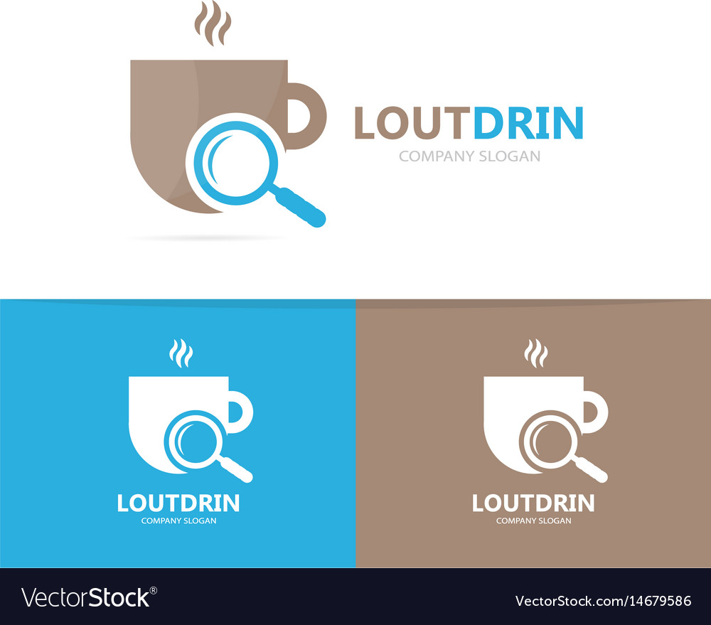 Coffee and loupe logo combination drink