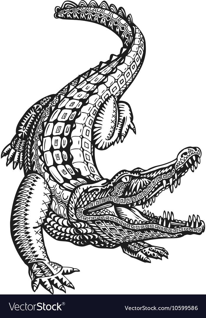 5553137b67c84 Crocodile alligator or animal painted tribal Vector Image