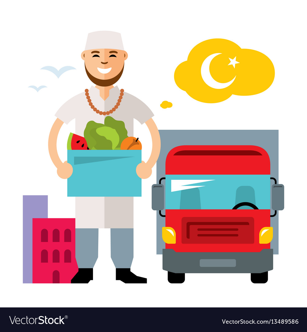 Food delivery flat style colorful cartoon