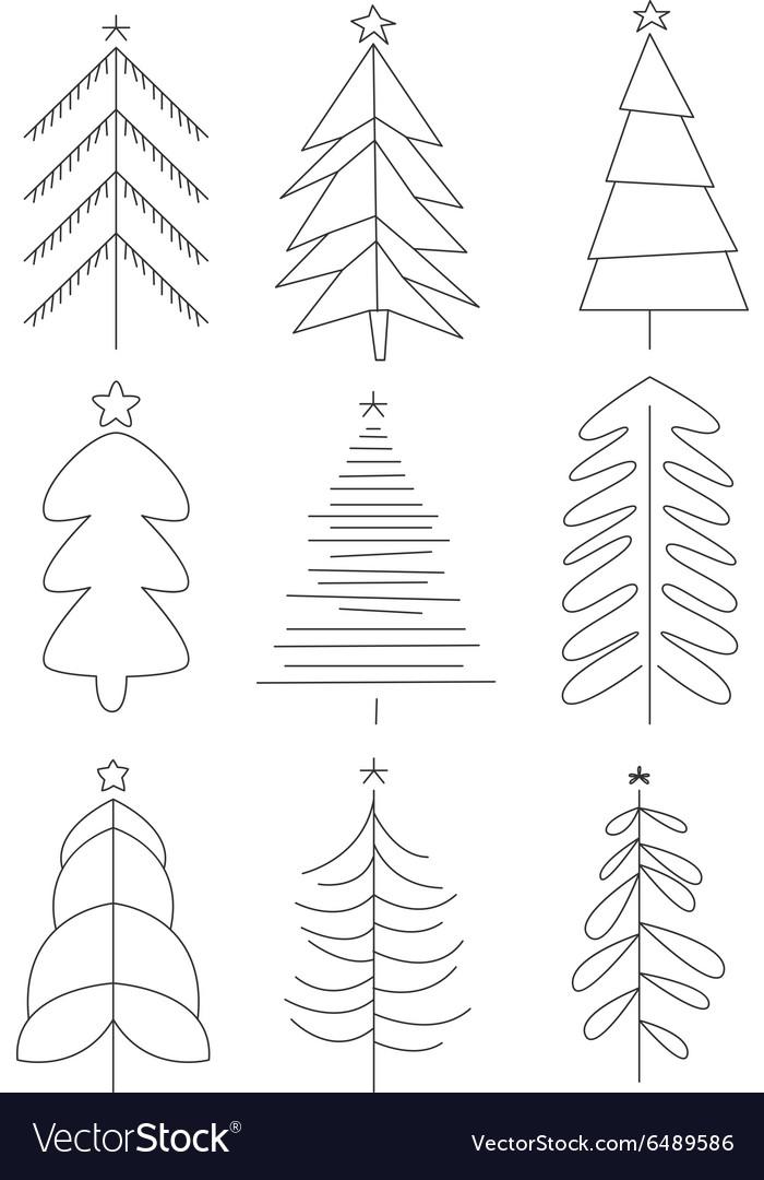 Handdrawn Christmas Trees