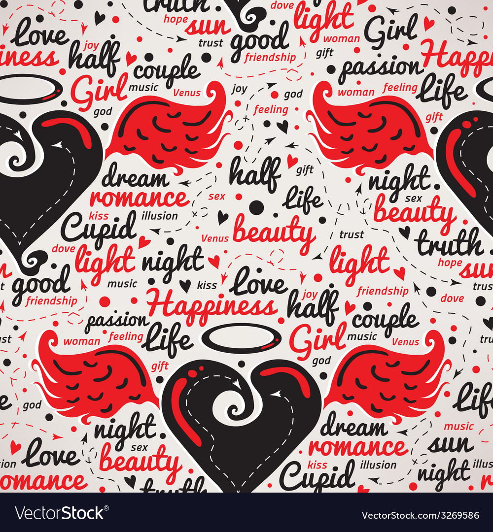 Heart with wings Design seamless