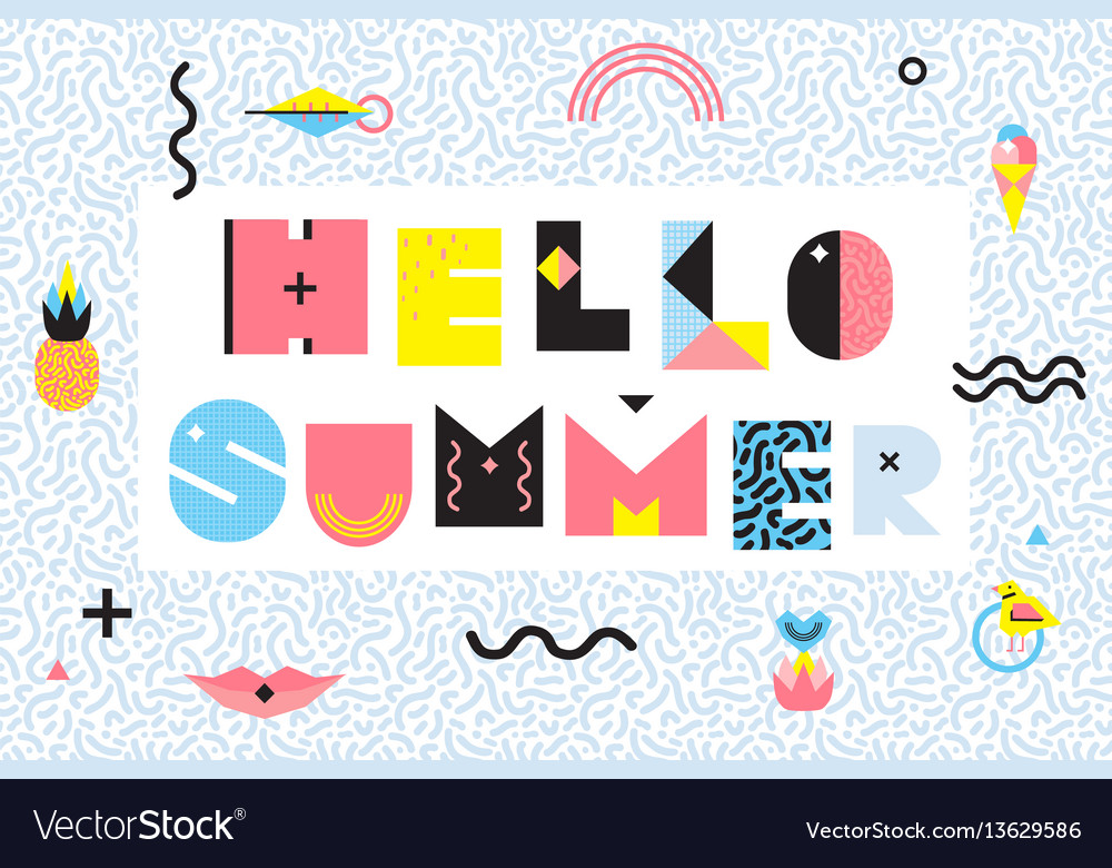 hello summer memphis style design royalty free vector image