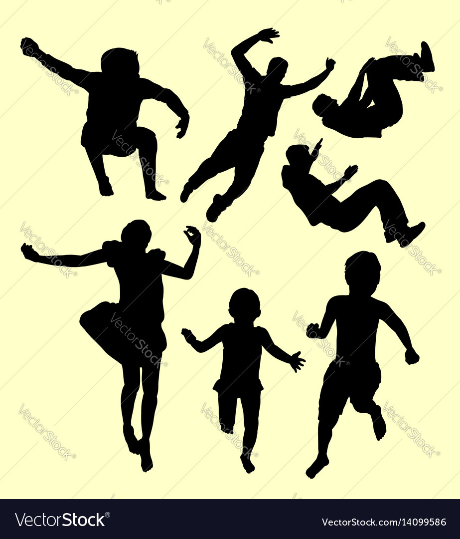 Jumping children action silhouette