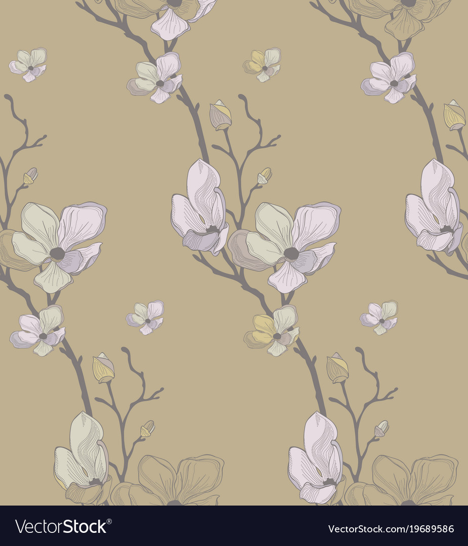 Seamless pattern with drawn cherry flowers