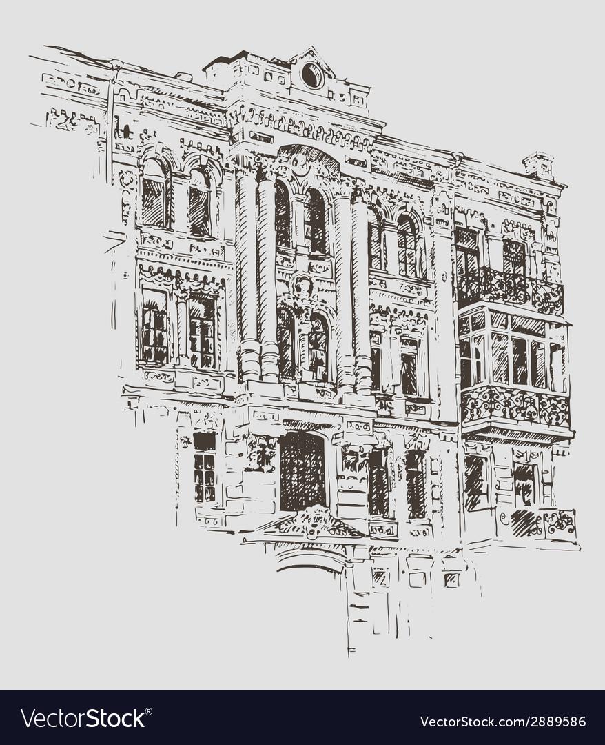sketch drawing of kiev historical building ukraine vectorstock