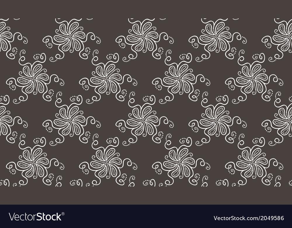 Tender Elegant White Flower pattern on dark grey