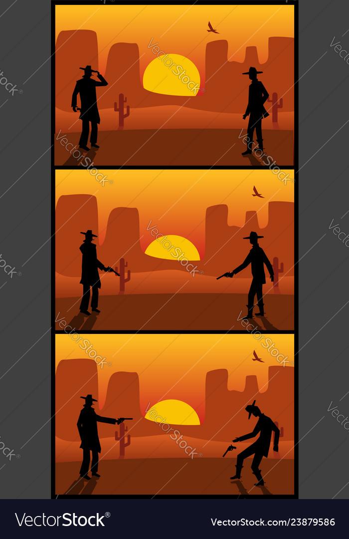 Two gunslingers duel desert sunset color flat