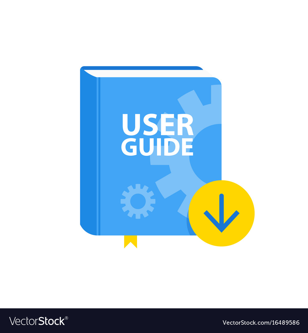 User guide book download icon flat