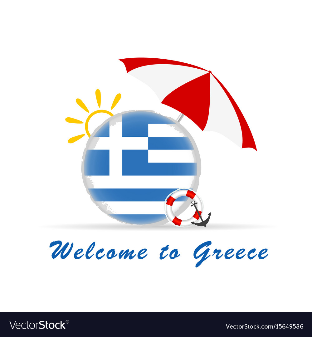 Welcome greece icon travel in colorful vector image