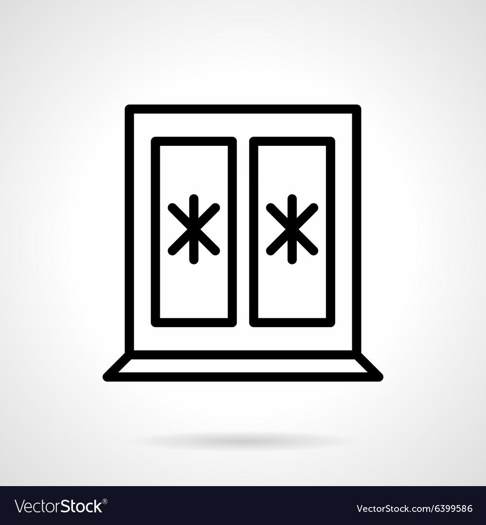 Window with snowflakes black line icon