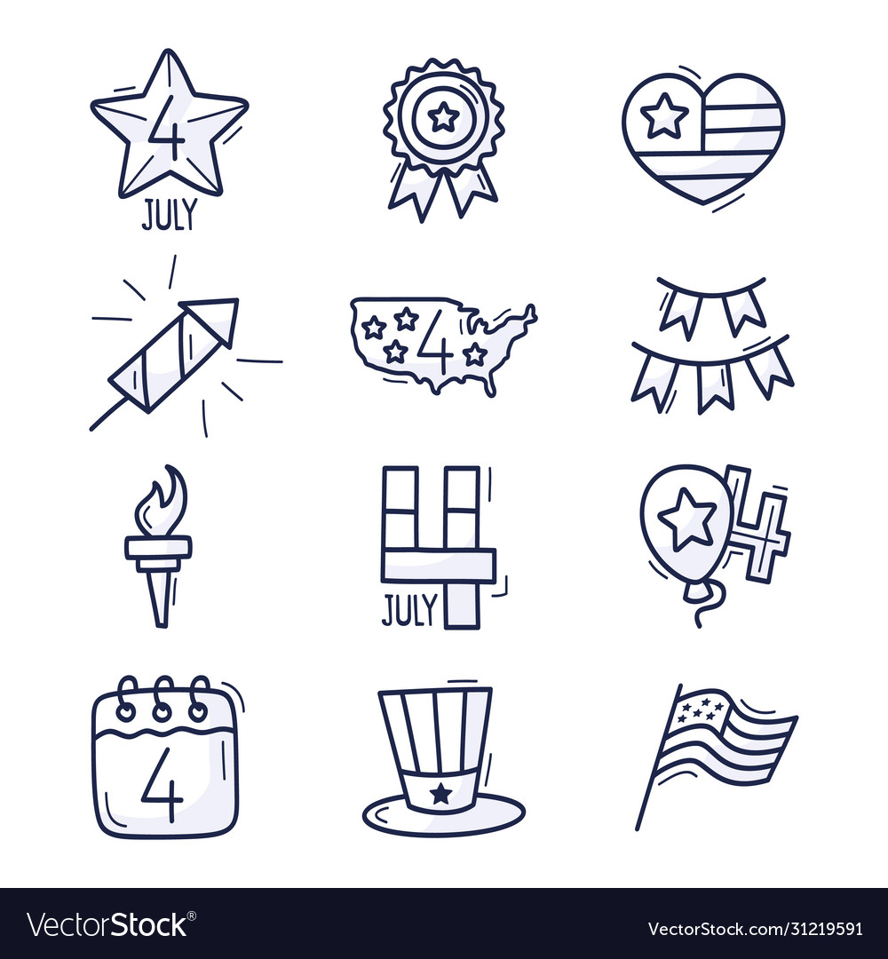 4 july icon set usa independence day hand drawn
